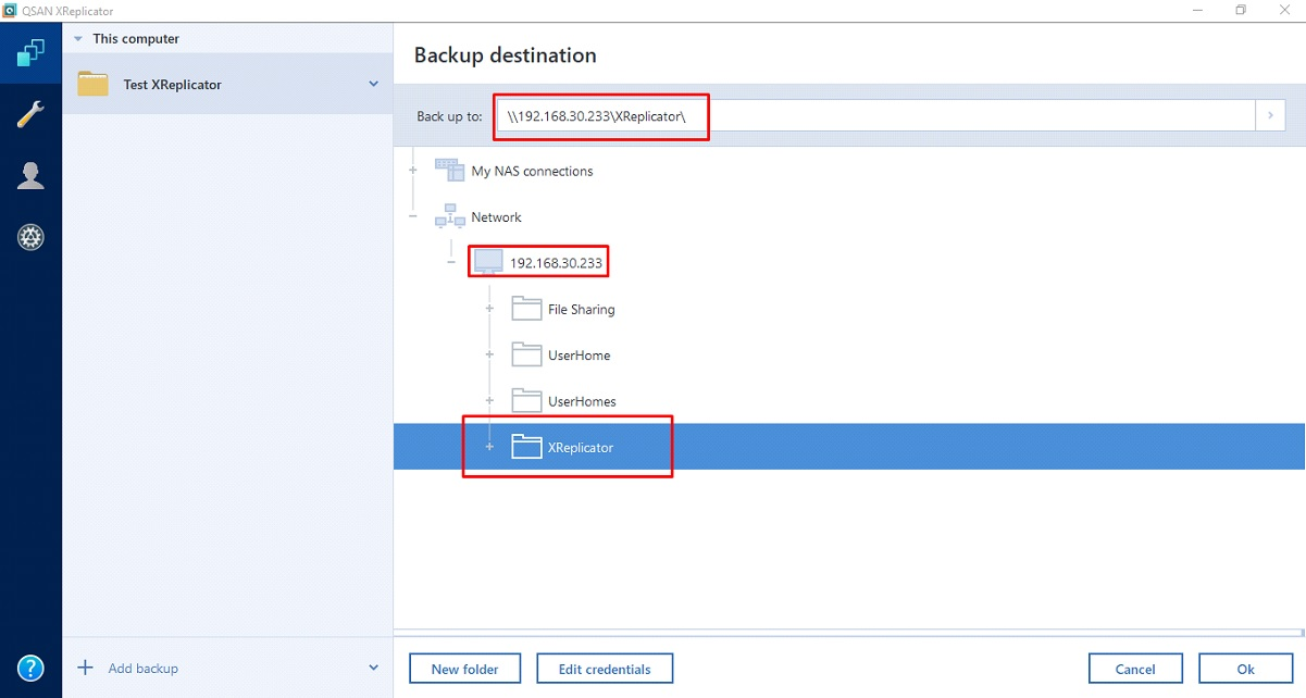 Next choose Destination Backup & enter IP and User Credential Destination NAS (2)