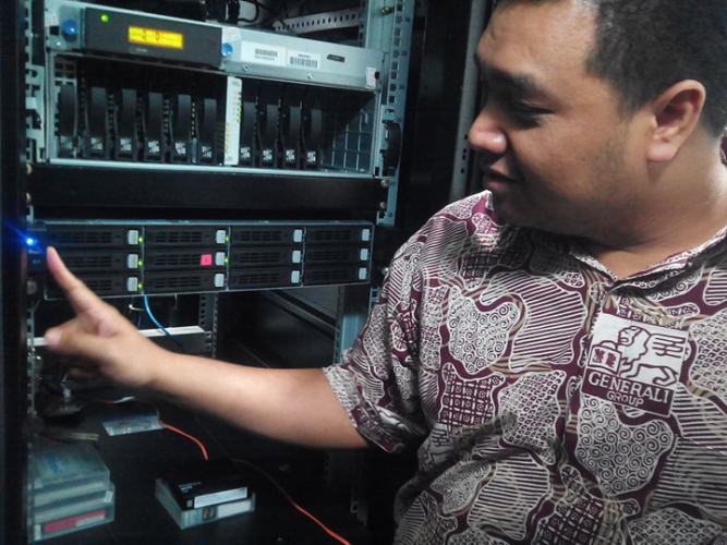 The System Administrator shows Qsan U221 at Generali Indonesia