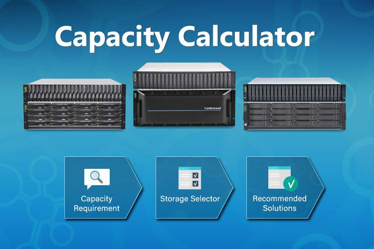 Infortrend Storage Capacity Calculator three steps.